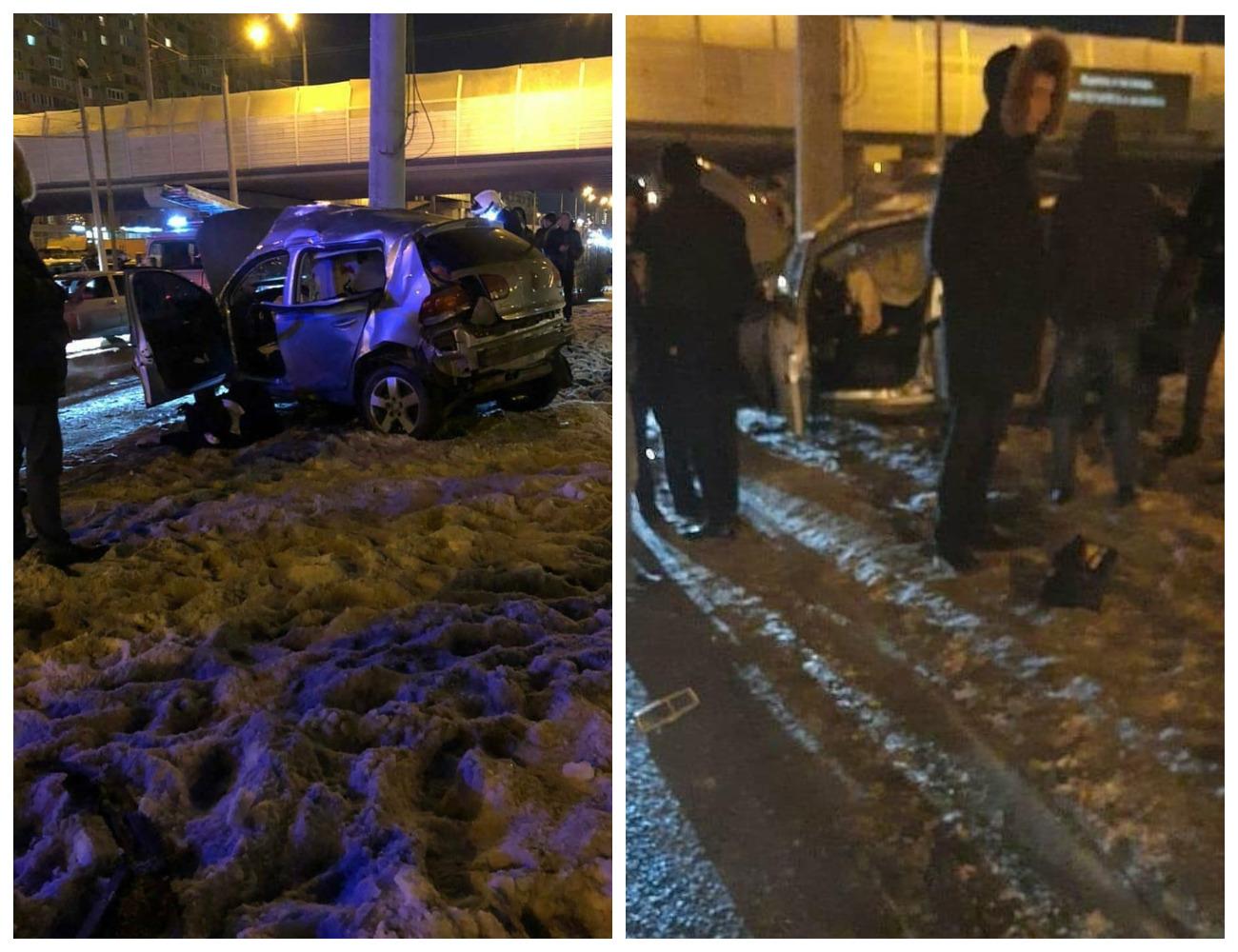 «Господи, какие молодые погибли!»: в Казани два парня ночью гнали на большой скорости и врезались в столб